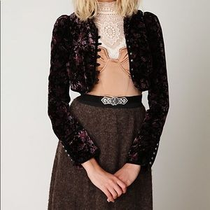 FREE PEOPLE Cropped Velvet Jacket